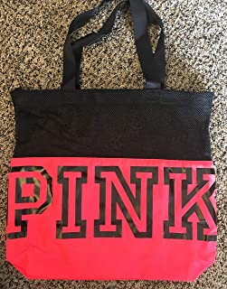 VICTORIA SECRET - PINK - SOLD OUT. SPORTY BLACK & HOT PINK Y TOTE WITH BLACK MESH - RARE. - SOLD OUT