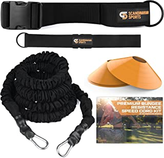 Bungee Resistance Speed Band Set – 360° Rotation, 80 lbs Resistance Strength Bungee Cord 22ft Length, Sport Cones and Bonu...