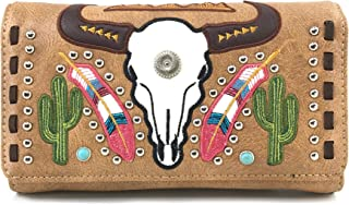 Justin West Native Longhorn Cow Skull Cactus Feather Color Conceal Carry Shoulder Handbag Purse | Trifold Wallet