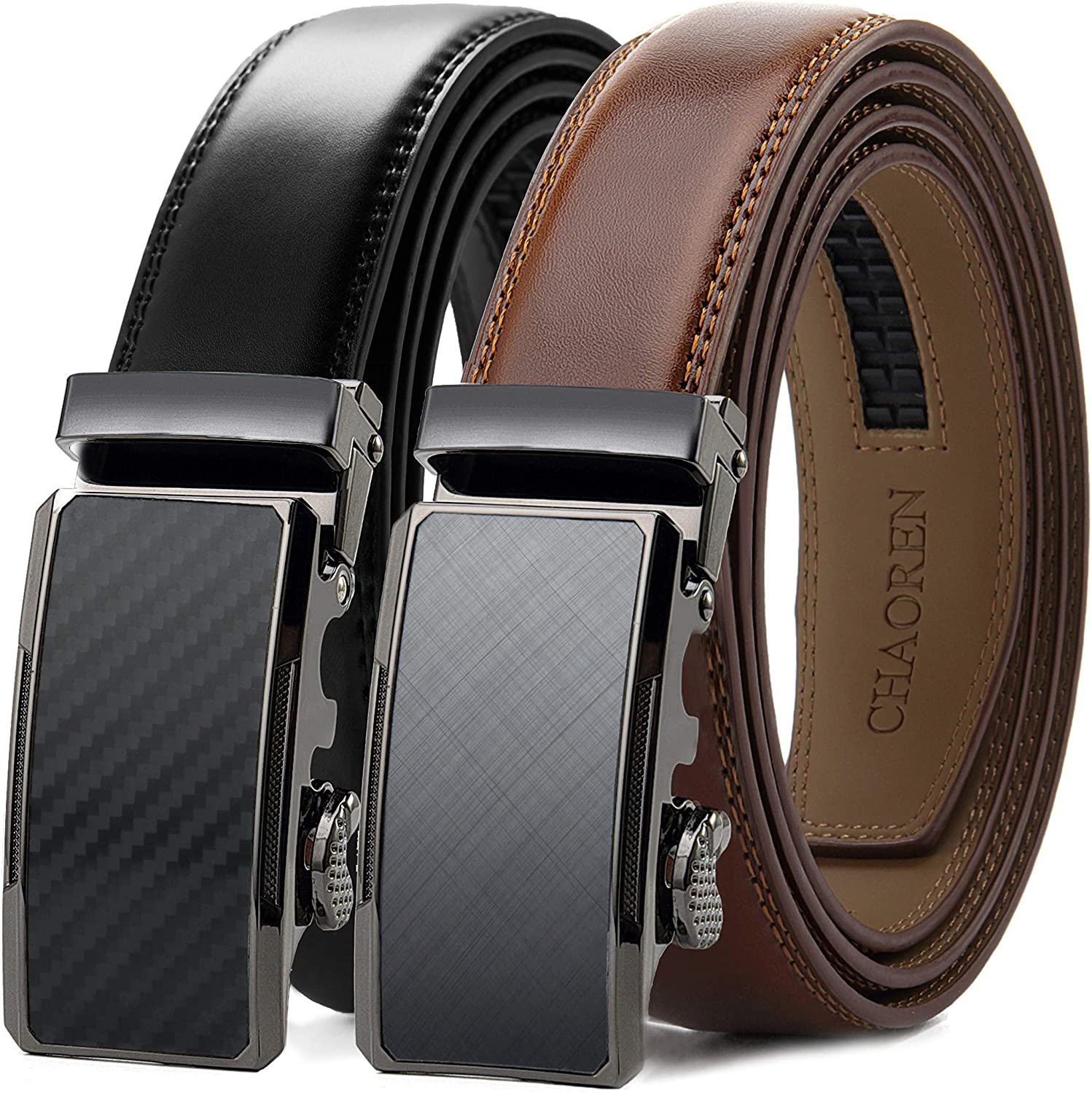 Chaoren Leather Ratchet Slide Belt 2 Pack with Click Buckle 1 1/4