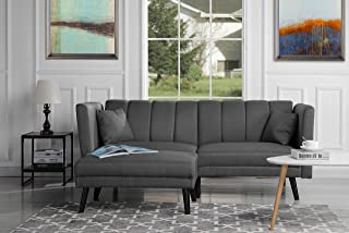 DIVANO ROMA FURNITURE Mid-Century Modern Linen Fabric Futon Sofa Bed, Living Room Sleeper Couch (Dark Grey)