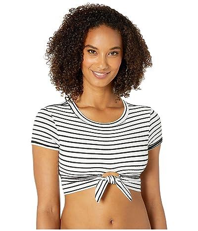 Robin Piccone Sailor T-Shirt Top w/ Front Tie (White/Black) Women