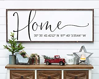 CELYCASY Personalized Wood Sign Home Coordinates Sign Modern Farmhouse Housewarming Gift for Her Latitude Longitude GPS Coordinates