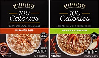 Better Oats Oat Fit Bundle: (1) Cinnamon Roll 9.8oz, (1) Apples & Cinnamon 9.8oz (2 Boxes Total)