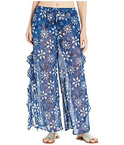 Bleu Rod Beattie Take A Dip Slide Ruffle Slit Pants Cover-Up (Navy/Multi) Women