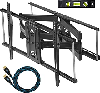 """Cheetah Dual Articulating Arm TV Wall Mount Bracket for 32-65"""" TVs (Many up to 75"""" or More) up to VESA 600 & 165lbs, Includes Twisted Veins 10' HDMI Cable & a 6"""" 3-Axis Magnetic Bubble Level"""