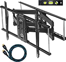 "Cheetah Dual Articulating Arm TV Wall Mount Bracket for 32-65"" TVs (Many up to 75"" or More) up to VESA 600 & 165lbs, Includes Twisted Veins 10' HDMI Cable & a 6"" 3-Axis Magnetic Bubble Level"