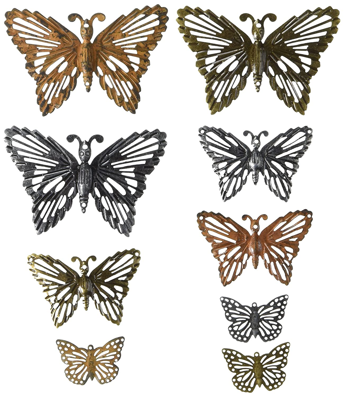 Prima Marketing 963408 Grungy Butterflies Finnabair Mechanicals Metal Embellishments (9/Pack), Multicolor