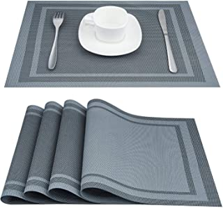 Artand Placemats, Heat-Resistant Placemats Stain Resistant Anti-Skid Washable PVC Table Mats Woven Vinyl Placemats, Set of 6 (Sliver Grey)