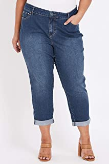 Beme 7/8 Roll Hem Mid Wash Jean - Womens Plus Size Curvy