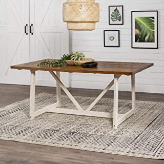 Walker Edison 4 Person Modern Farmhouse Wood Small Dining Table Dining Room Kitchen Table Set Dining Chairs, 72 Inch, Whit...