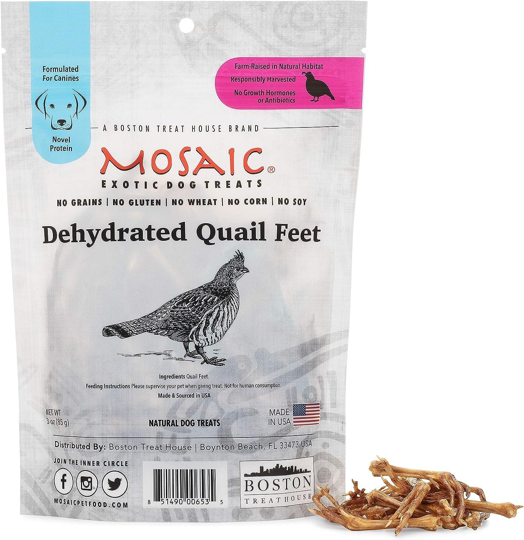 Mosaic Cheap mail order shopping Dehydrated Quail Max 58% OFF Feet - Treats Dog All-Natural Gourmet