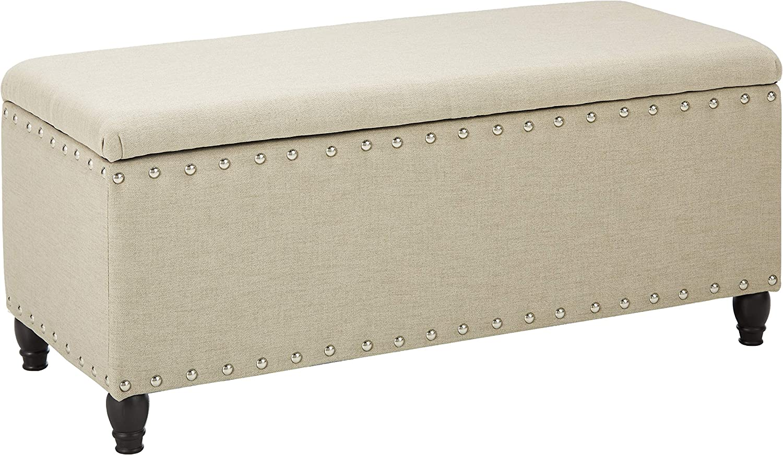 Christopher Max 70% OFF Brand new Knight Home Tatiana Storage Ottoman Wheat Fabric