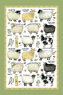 Samuel Lamont Linen Union Tea Towel Sheep Breeds Print