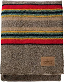 Pendleton Yakima Camp Thick Warm Wool Indoor Outdoor Striped Throw Blanket, Mineral Umber, Twin Size