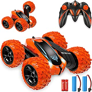 KKONES Remote Control car,2.4GHz Electric Race Stunt Car,Double Sided 360° Rolling Rotating Rotation, LED Headlights RC 4W...