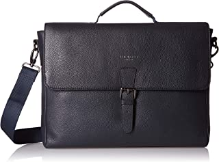 Men's Departs Leather Briefcase, Navy, Blue, One Size