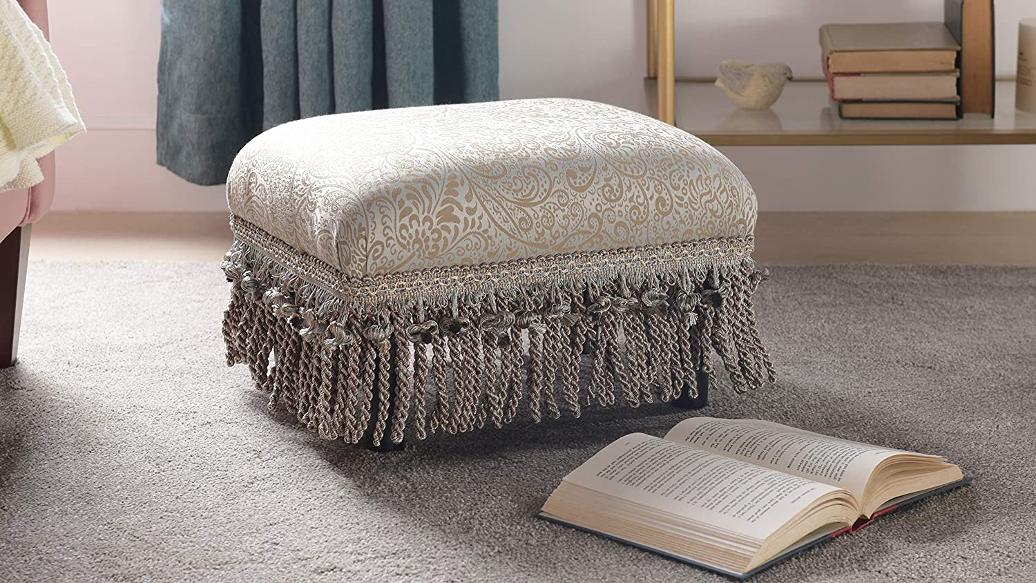 Jennifer Taylor Home Fiona Collection Traditional Style Upholstered Fringed and Tasseled Rectangular Wood Framed Footstool, Neutral
