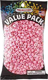 The Beadery 6 by 9mm Barrel Pony Bead, Pink, 900-Pieces