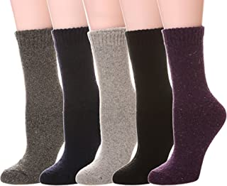 Women's Super Thick Soft Knit Wool Warm Winter Crew Socks - 5 Pack