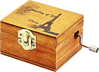 DIFFMELY Music Box Wooden Eiffel Tower - Castle in The Sky, Natural Wood, Alloy Button, Dresser furnishings, Manual Machinery Gift (Melody Castle in The Sky)