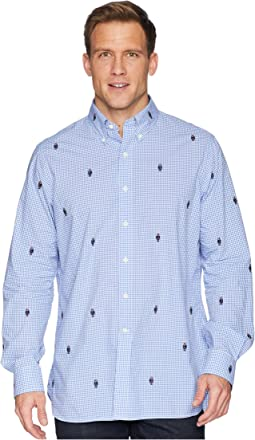Embroidered Bear Gingham Poplin Sport Shirt