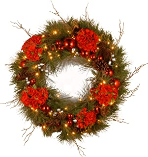 National Tree 24 Inch Decorative Collection Hydrangea Wreath with Cones, Red Berries and 50 Battery Operated Soft White LED Lights with Timer (DC13-158-24WB-1)