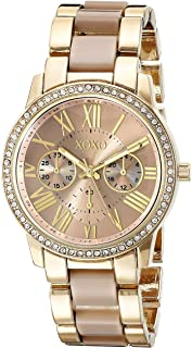 Women's Analog Watch with Gold-Tone Case, Crystal-Inset Bezel, Fold-Over Clasp - Official XOXO...
