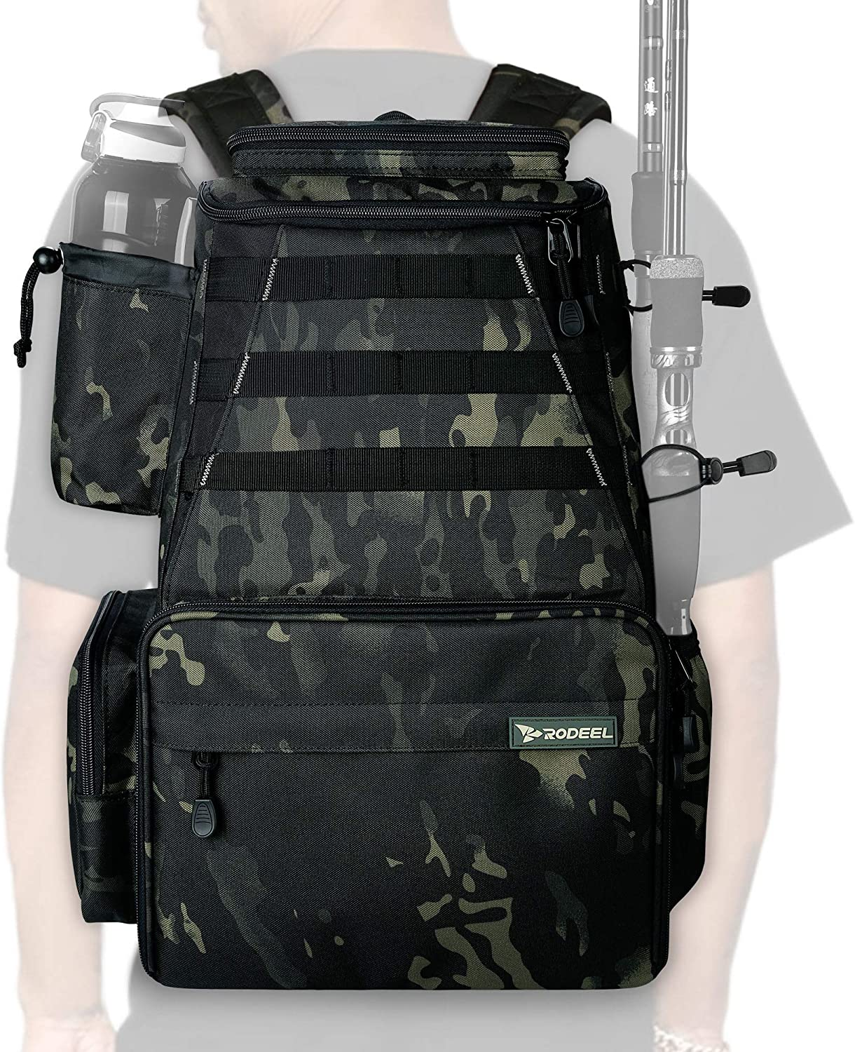 Rodeel Max 57% OFF Fishing Over item handling ☆ Tackle Backpack 2 Rod 4 Holders Without T
