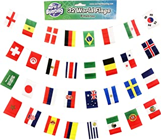 2018 FIFA World Cup Soccer All 32 Teams Flags Banner for Russia Football Tournament 29.5 Feet Long with Medium Flags Size 5.5