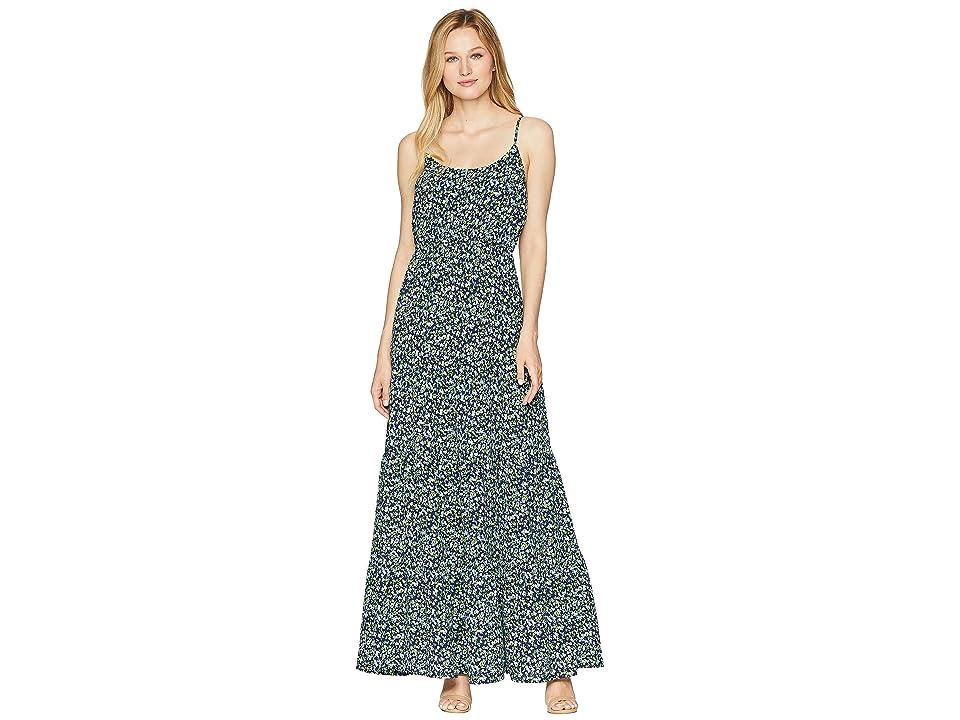 MICHAEL Michael Kors Sleeveless Tiered Maxi Dress (True Navy/Green Apple Multi) Women