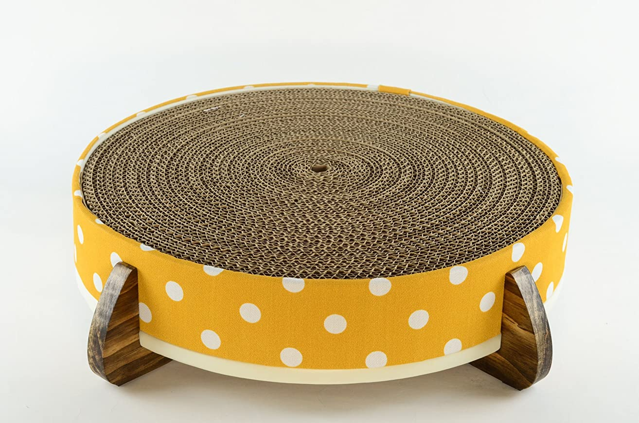 Cat Scratcher and Cat Bed - (Big Polka Dot) Fabric cover, handcrafted wood legged base, and large long-lasting replaceable cardboard insert