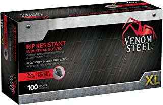 Venom Steel Nitrile Gloves, Rip Resistant Disposable Latex Free Black Gloves, 2 Layer Gloves, 6 mil Thick, X-Large(Pack of 100)