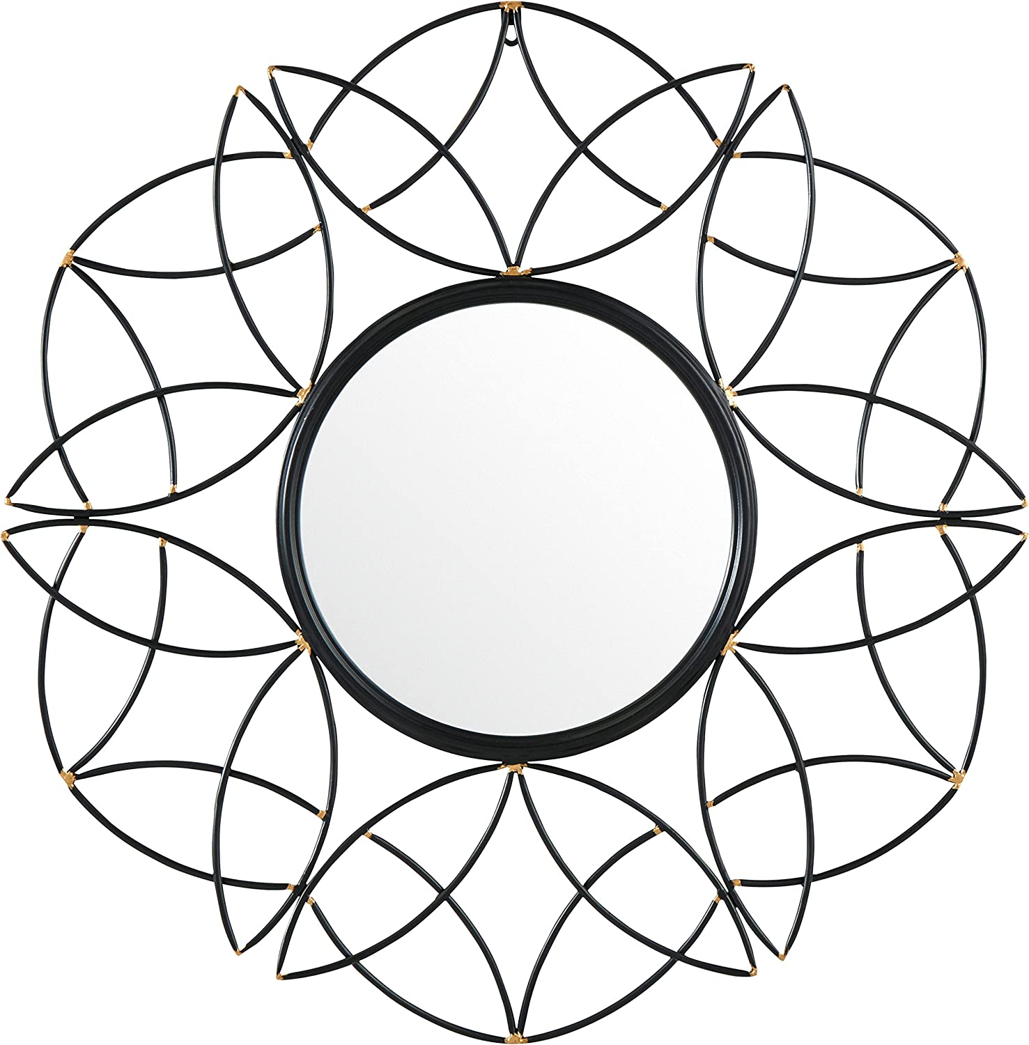 Rivet Modern Metal Floral Pattern Round Mirror, 30.5  H, Black