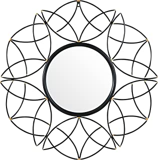 Rivet Modern Metal Floral Pattern Round Hanging Wall Mirror, 30.5 Inch Height, Black