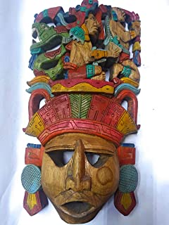 Mayan mask of wood, carved by hand, life and life unique piece, Mexican mask, Mayan culture