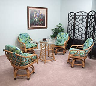 Made in USA Rattan Swivel Caster Chair and Table 5 Piece Dining Set (#2508H-BP)