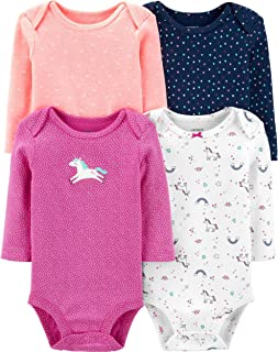 Carter's Baby Girls' 4-Pack L/S Bodysuits