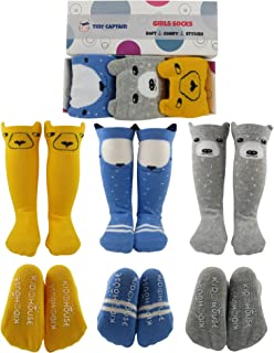 Baby Girl Knee High Socks 8-24 Months Best Toddler Gift for 1-3 Year Old Girls Long Cotton Sock from Tiny Captain (Yellow, Blue, Grey, Small)
