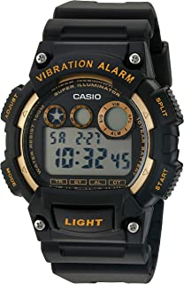 Men's 'Super Illuminator' Quartz Stainless Steel and Resin Watch, Color:Black (Model: W-735H-1A2VCF)