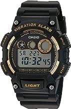 Casio Men's 'Super Illuminator' Quartz Stainless Steel and Resin Watch, Color:Black (Model: W-735H-1A2VCF)