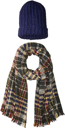 Steve Madden - Pack Me Plaid Two-Piece Wrap Beanie