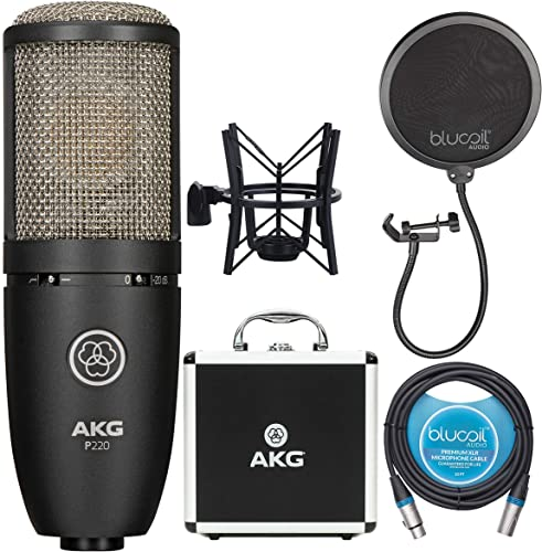 high quality AKG P220 Large-Diaphragm Condenser Microphone outlet sale for Vocal Recording Bundle with Blucoil Pop Filter Windscreen, and 2021 10-FT Balanced XLR Cable outlet sale
