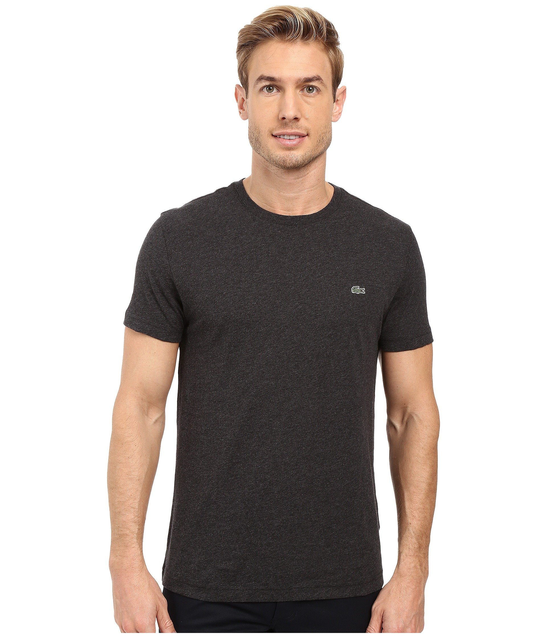 LACOSTE Short-Sleeve Pima Jersey Crewneck T-Shirt in Panther Black