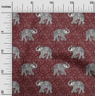 oneOone Cotton Poplin Fabric Elephant Block Printed Fabric 1 Meter 42 Inch Wide