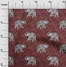 oneOone Georgette Viscose Fabric Elephant Block Print Fabric by Meter 42 Inch Wide