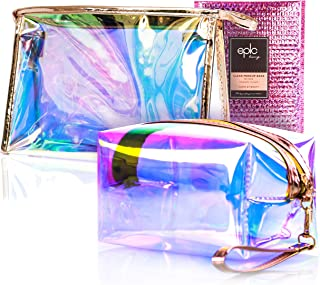 Clear Makeup Bags for Women - Set of 2 Cosmetic Zipper Pouches, Pink Holographic Pouch, Jelly Purse, Hanging Toiletry, Large Make Up Organizer, Organizers for Diaper Bag, Travel, Pencil, Girls Wristlet