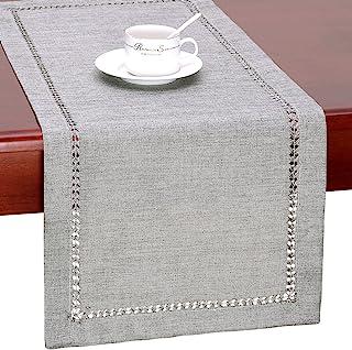 GRELUCGO Handmade Hemstitch Gray Dining Table Runner Or Dresser Scarf, Rectangular 14 by 36 Inch