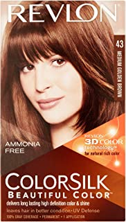 Revlon ColorSilk Hair Color [43] Medium Golden Brown 1 ea (Pack of 8)