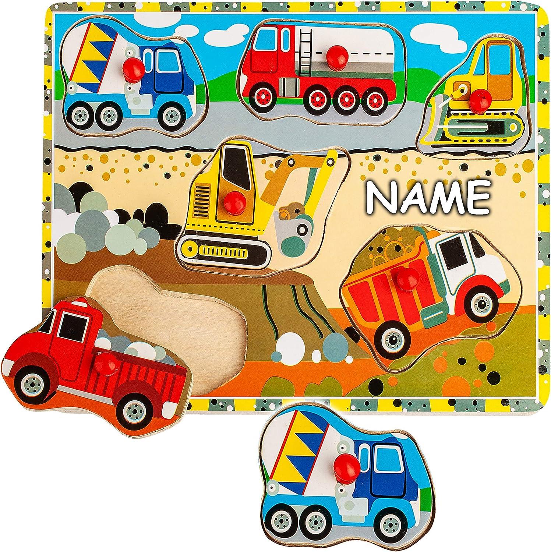 Motivwahl gro/ßes Holzpuzzle // Einlegepuzzle Legespiel inkl alles-meine.de GmbH 1 Brett Holz Rah.. Steckpuzzle mit Griff Werkzeuge /& Formen Name Tiere // Fahrzeuge